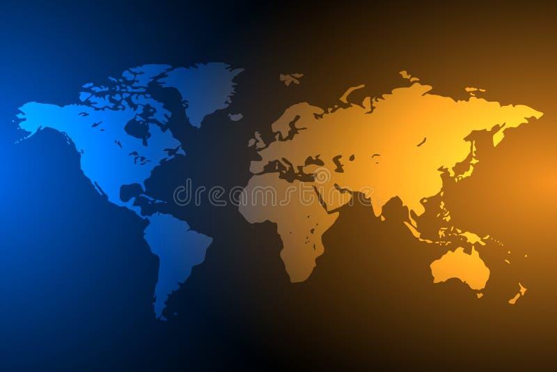 Fond global bleu et orange de carte, vecteur illustration stock