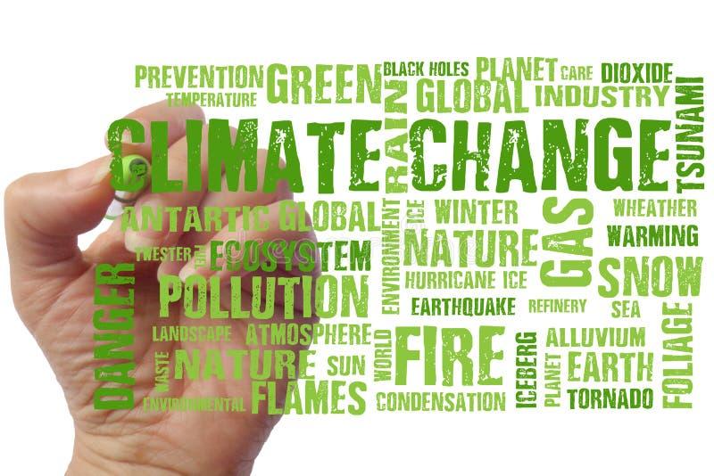 Fond global de mots des textes de changements climatiques photographie stock libre de droits
