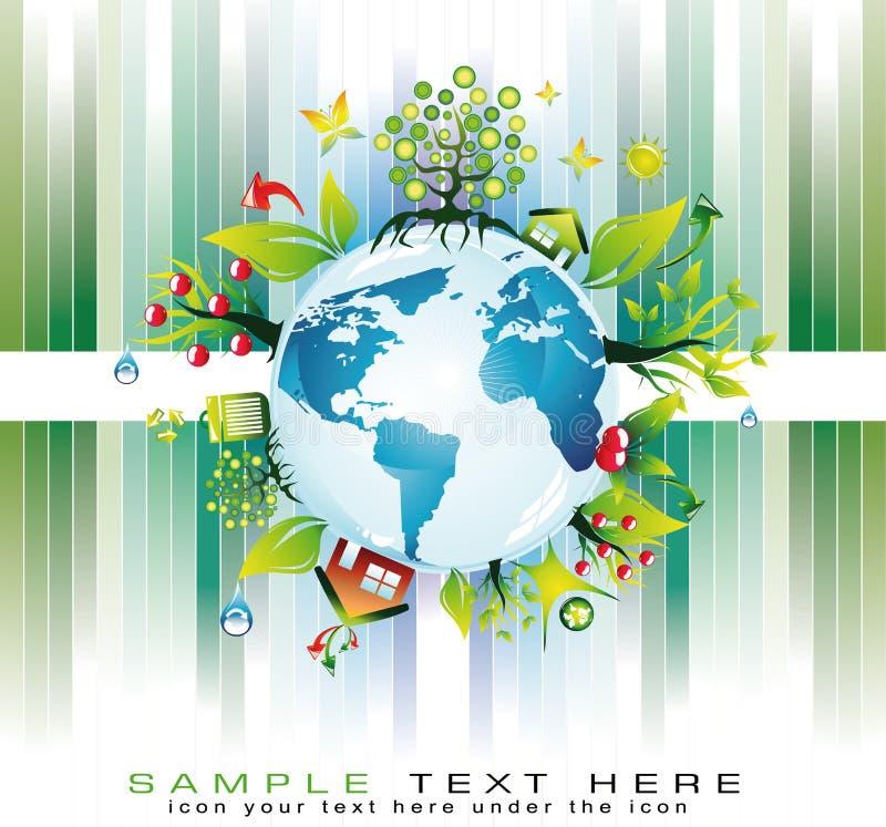 Fond global vert de sécurité de nature pour la mouche d'Eco illustration stock