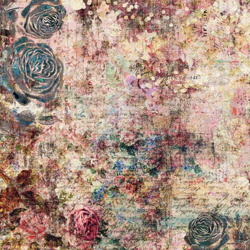 Fond graphique abstrait artistique chic minable sale de vintage antique floral gitan de Bohème avec des roses image stock
