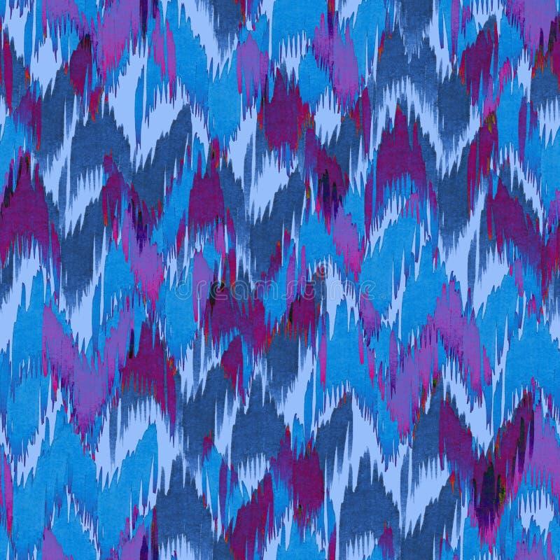 Fond graphique d'aquarelle de chevron d'ikat de main sans couture bleue de modèle illustration de vecteur