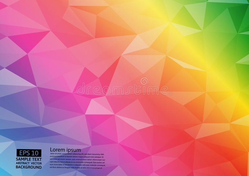Fond graphique de vecteur d'illustration triangulaire géométrique de gradient de couleur d'arc-en-ciel Conception polygonale de v illustration libre de droits