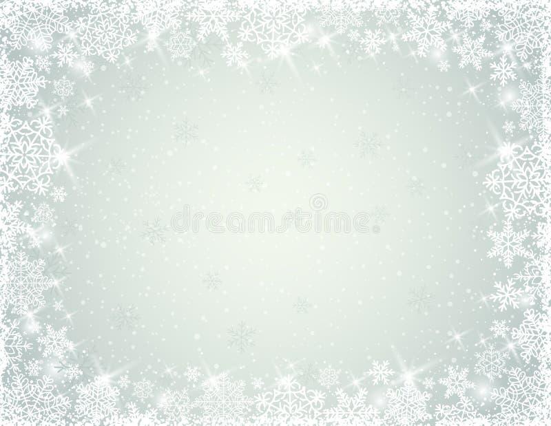 Fond gris avec des flocons de neige, vecteur illustration stock