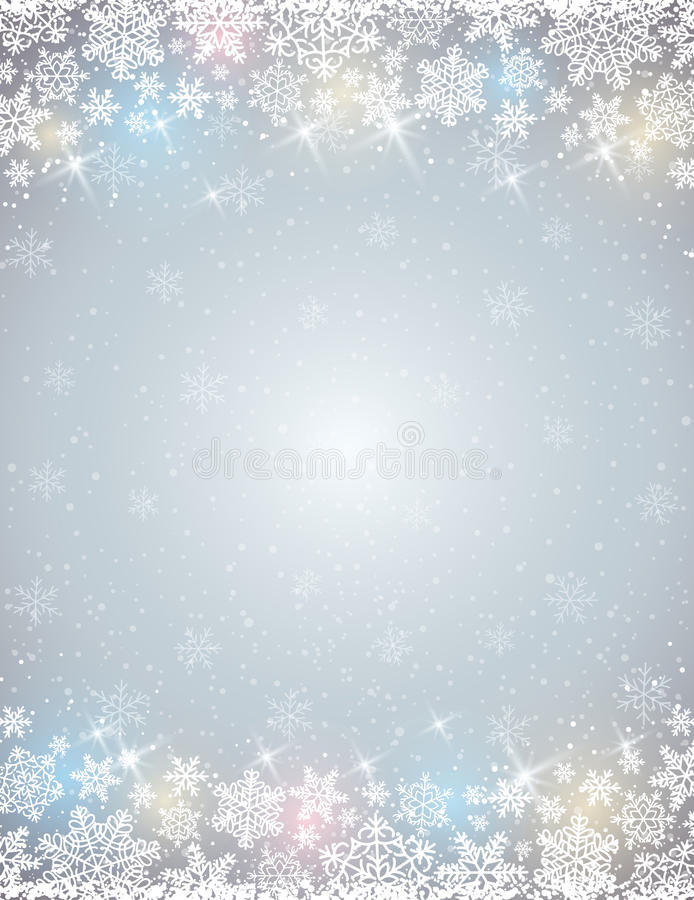 Fond gris avec le cadre des flocons de neige illustration libre de droits