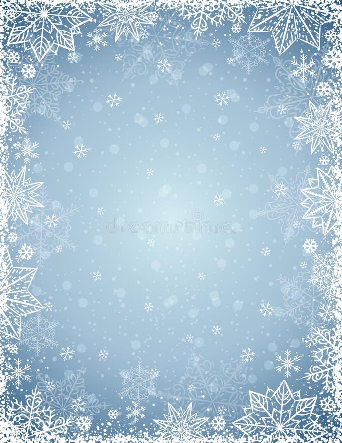 Fond gris avec le cadre des flocons de neige et des étoiles, vecteur illustration de vecteur