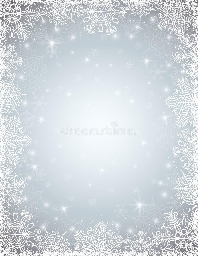 Fond gris avec le cadre des flocons de neige, vecteur illustration libre de droits
