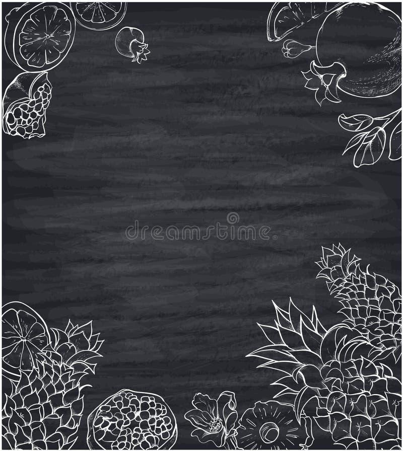 Fond gris avec les fruits tropicaux blancs illustration stock