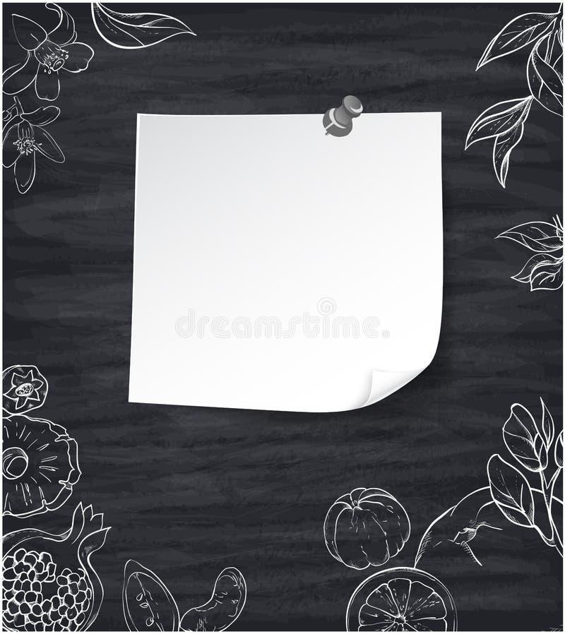 Fond gris avec les fruits tropicaux blancs illustration libre de droits