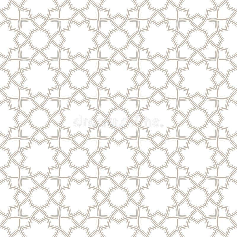 Fond gris-clair floral géométrique, modèle arabe, illustration stock