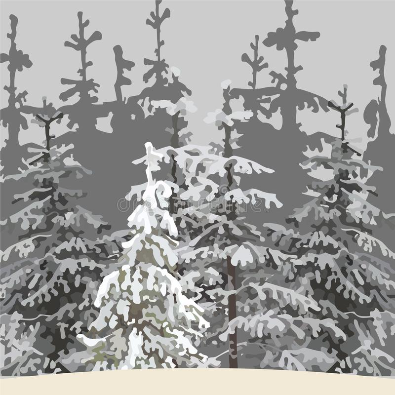 Fond gris de la forêt d'hiver avec les arbres neigeux illustration libre de droits