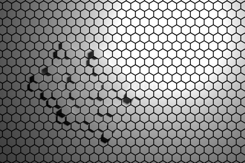 Fond gris et blanc abstrait d'hexagone images stock