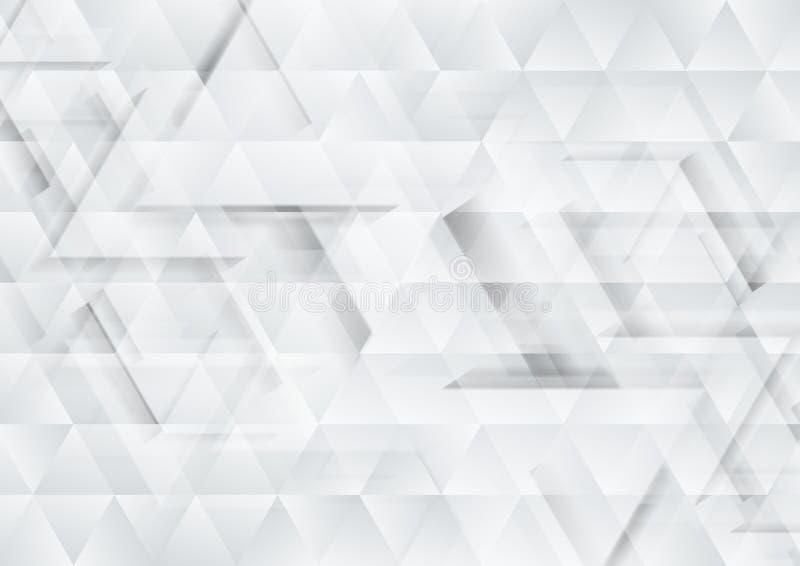 Fond gris et blanc de texture de triangles de technologie illustration libre de droits