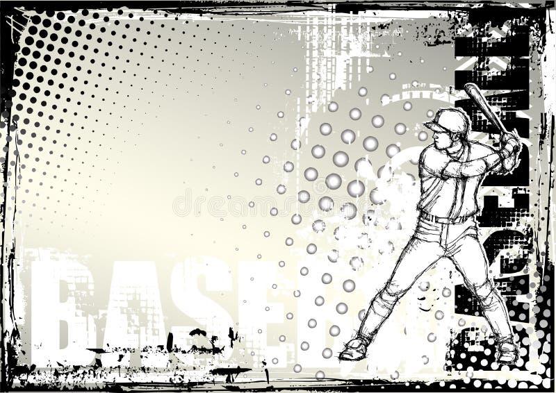 Fond grunge 2 de base-ball de crayon illustration de vecteur