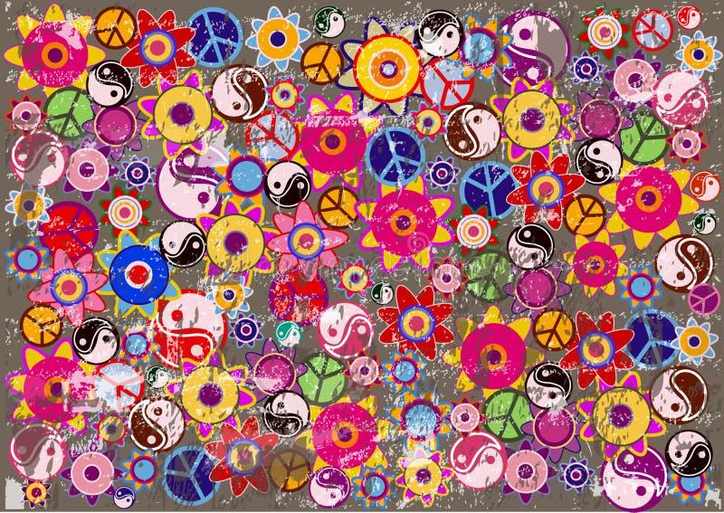 Fond grunge abstrait avec des icônes de hippies illustration stock