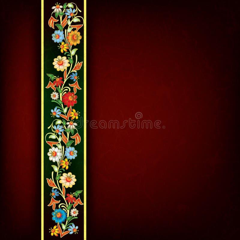 Fond grunge abstrait avec l'ornement floral illustration de vecteur