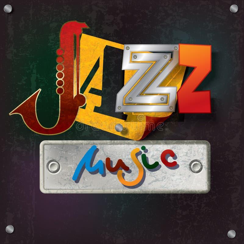 Fond grunge abstrait avec la musique de jazz des textes illustration de vecteur