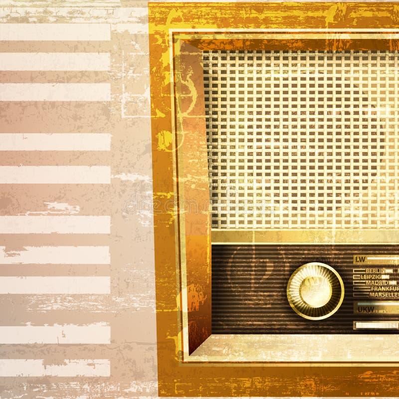Fond grunge abstrait avec la rétro radio illustration stock