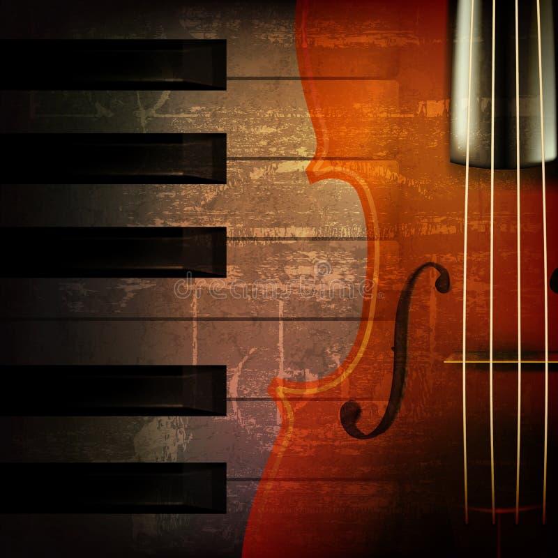 Fond grunge abstrait de musique avec le violon illustration de vecteur
