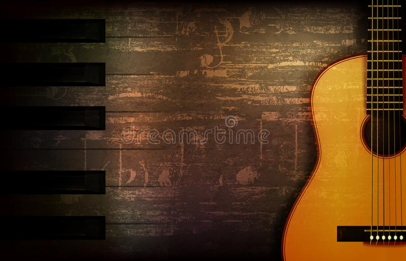 Fond grunge abstrait de piano avec la guitare acoustique illustration stock