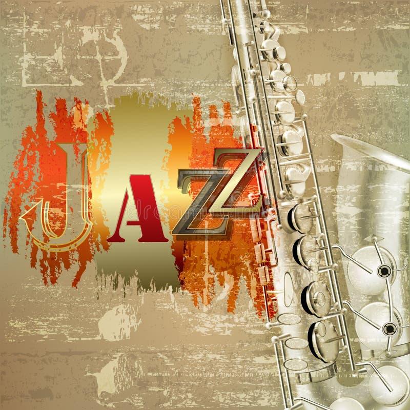 Fond grunge abstrait de piano avec le saxophone illustration stock