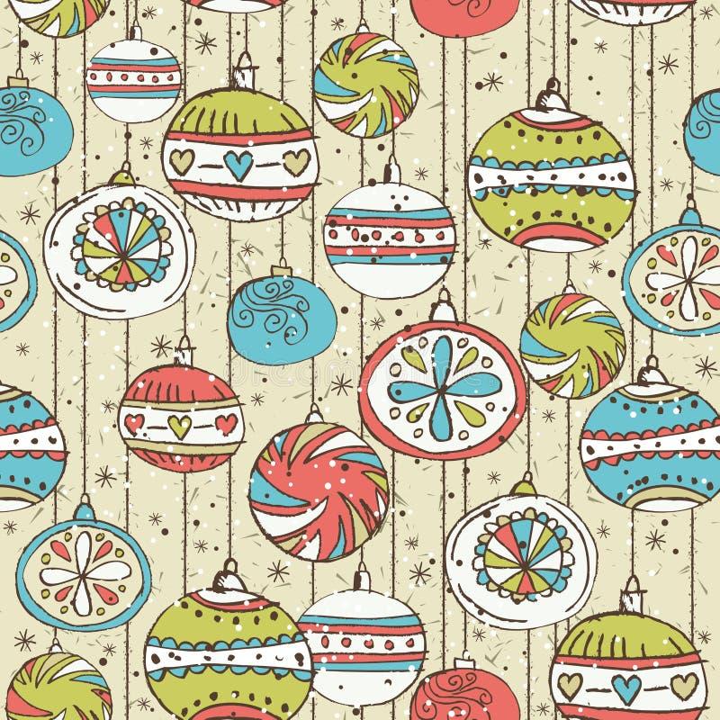 Fond grunge avec des boules de Noël, vecteur illustration stock