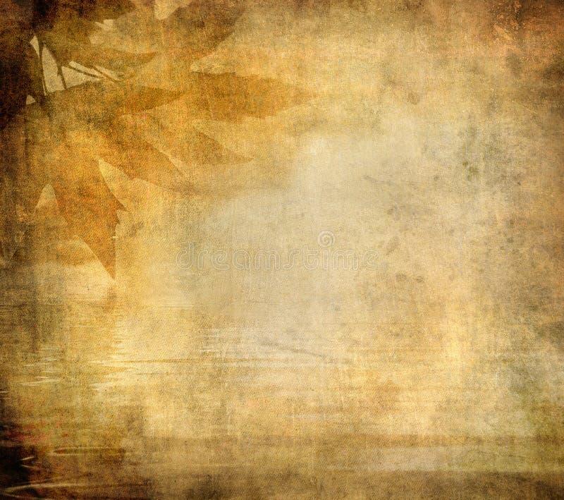 Fond grunge avec des lames d'automne illustration stock