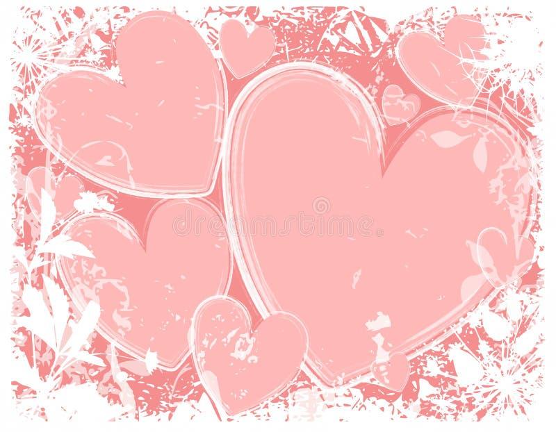Fond grunge blanc de coeurs roses illustration de vecteur