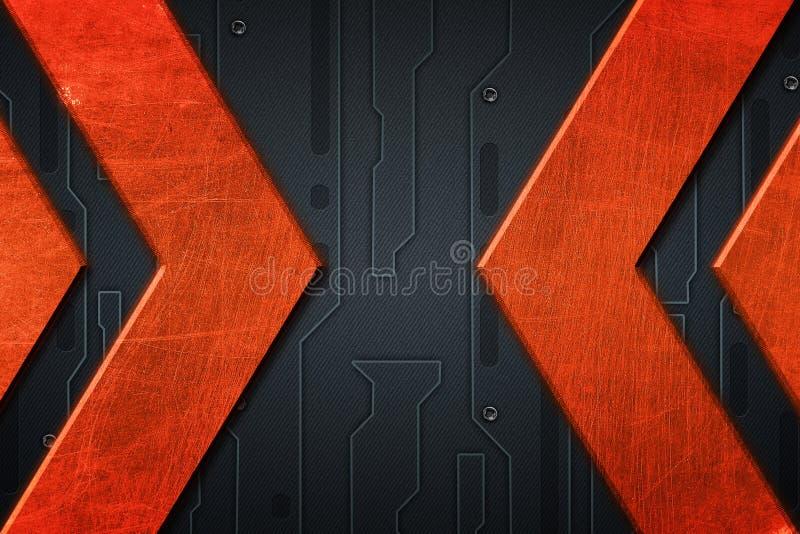 Fond grunge bleu et orange en métal Configuration sur de plaque métallique illustration libre de droits