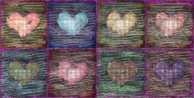 Fond grunge décoratif de coeurs illustration de vecteur
