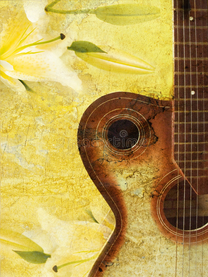 Fond grunge de cru avec la guitare illustration stock