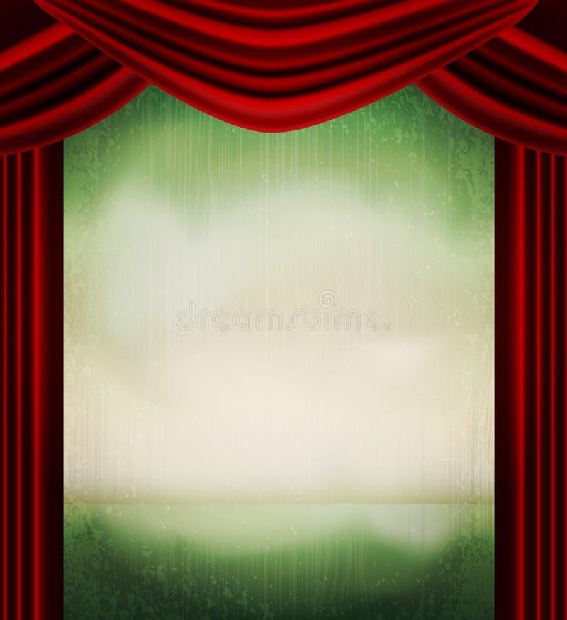 Fond grunge de cru de vecteur avec les rideaux rouges illustration stock