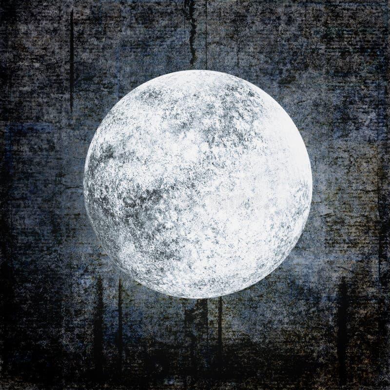 Fond grunge de Halloween avec la pleine lune sur le ciel nuageux de nuit illustration libre de droits