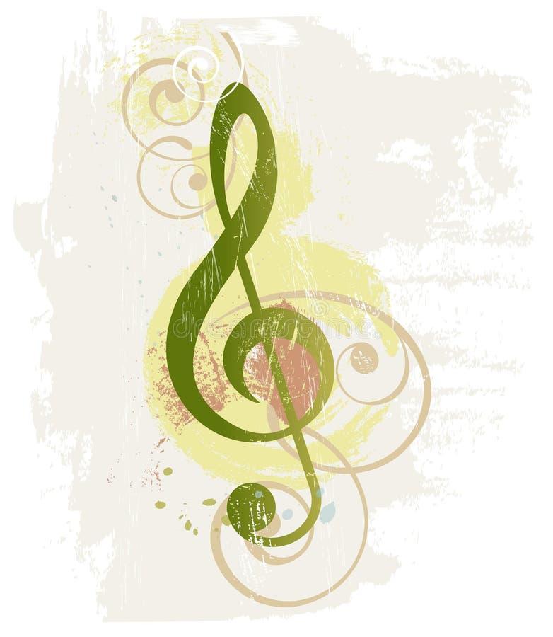 Fond grunge de musique avec le clef triple illustration libre de droits