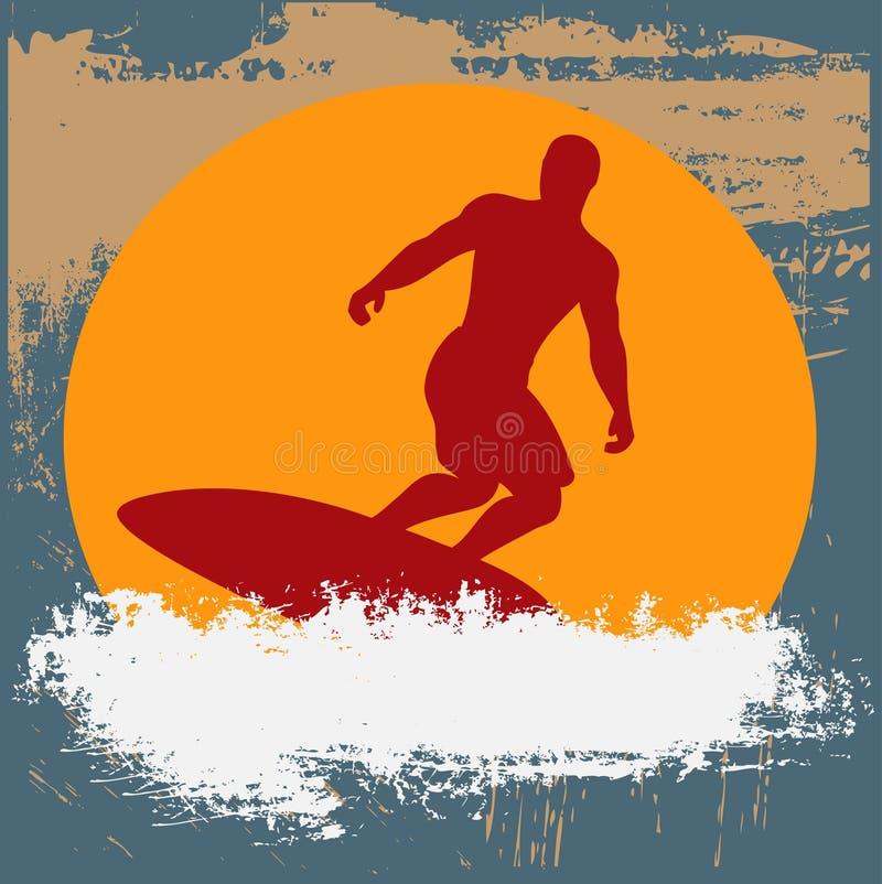 Fond grunge de surfer illustration de vecteur