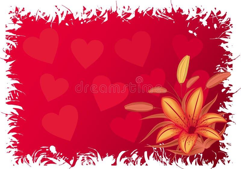 Fond grunge de Valentines avec des coeurs, vecteur illustration stock