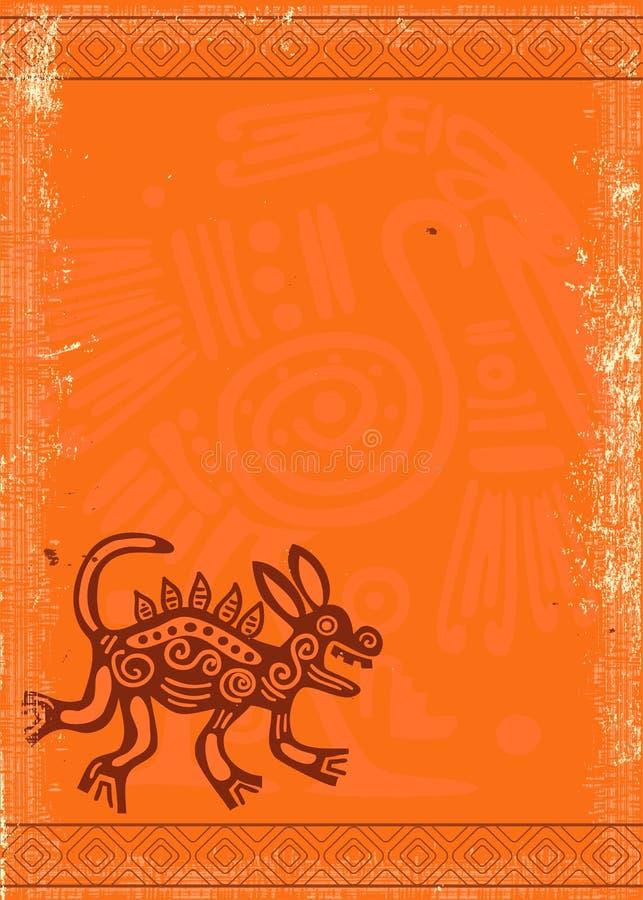 Fond grunge de vecteur avec le modèle traditionnel indien illustration stock