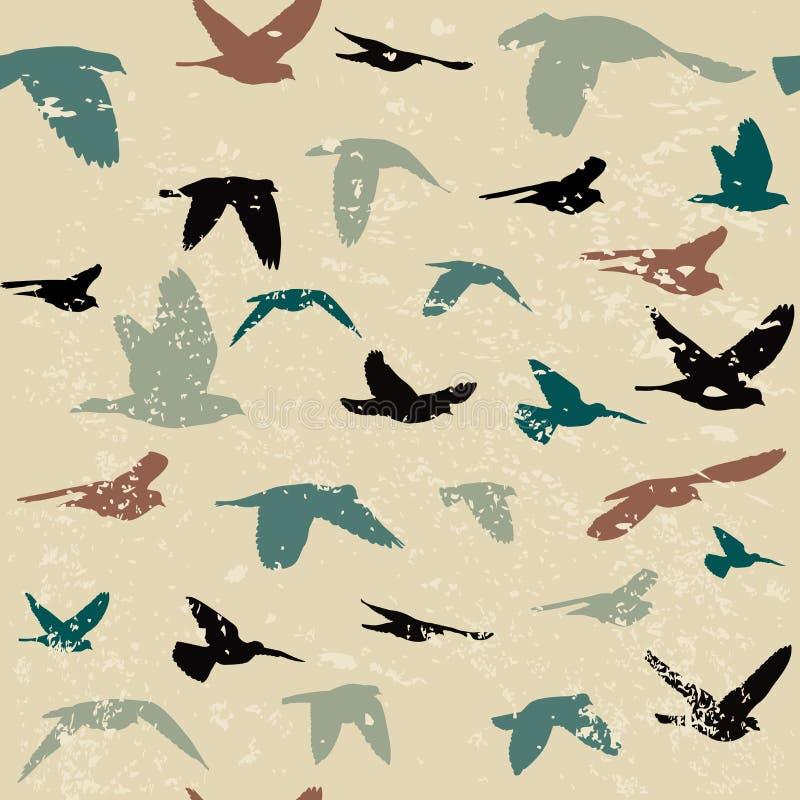 Fond grunge de vintage avec des silhouettes des oiseaux illustration de vecteur