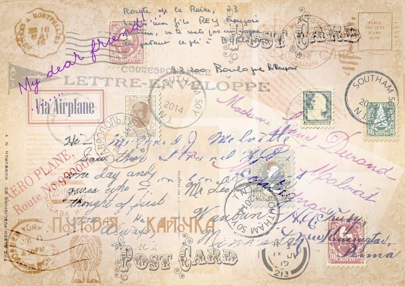 Fond grunge de vintage avec un ensemble de courrier Illustration illustration de vecteur