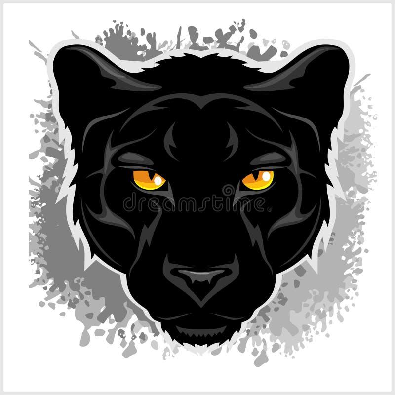 Fond grunge frontal de panthère noire illustration de vecteur