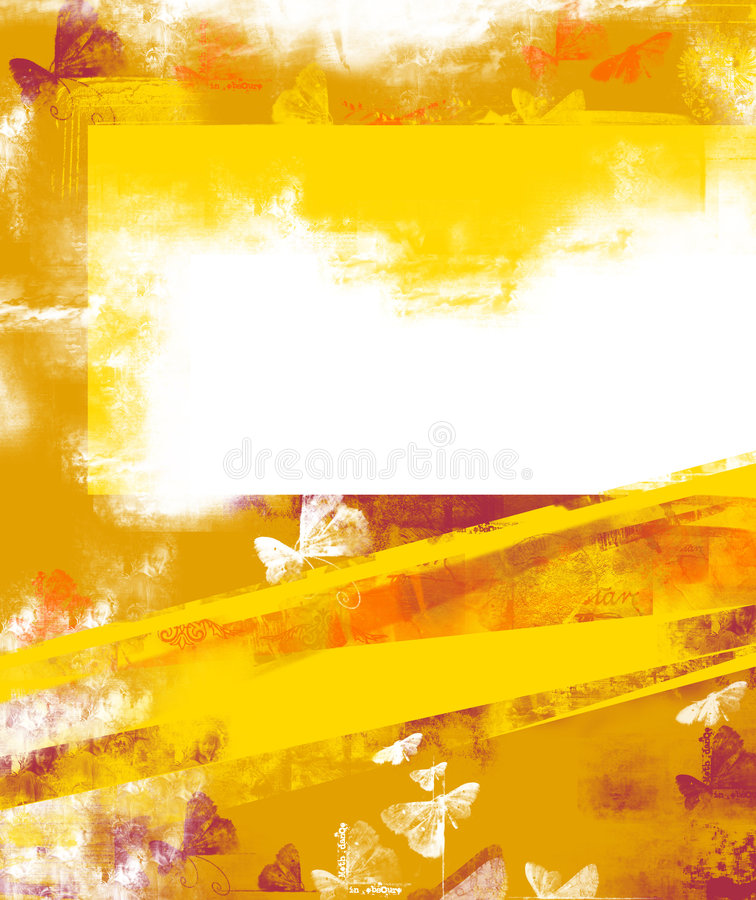 Fond grunge jaune-orange pour la lettre illustration stock