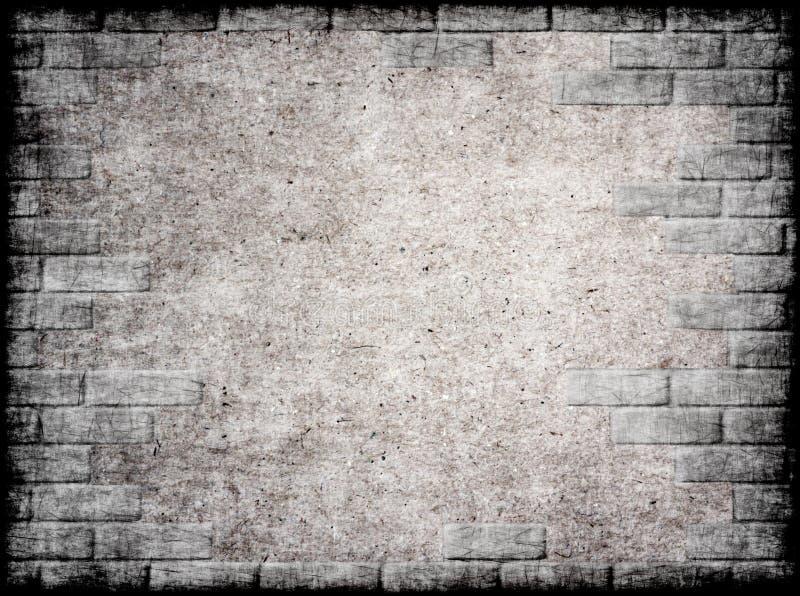 Fond grunge monochrome avec le cadre de brique. illustration de vecteur
