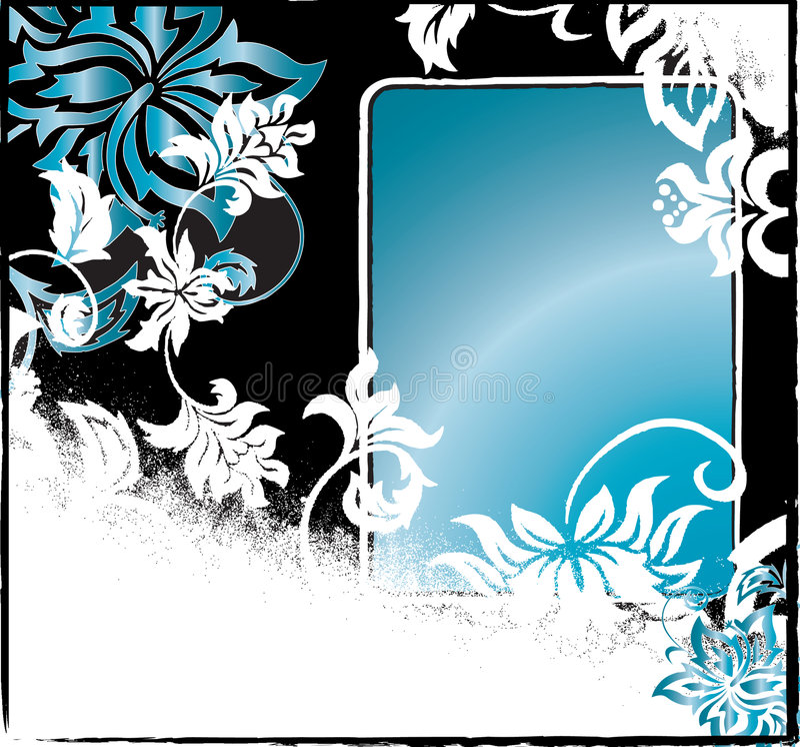 Fond grunge noir et bleu illustration stock