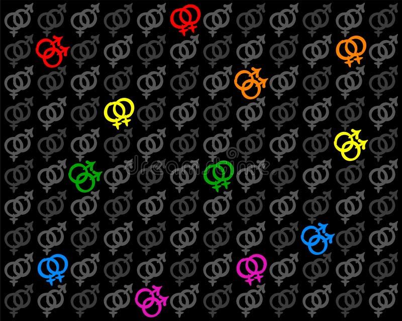 Fond hétéro lesbien gai de symboles d'amour illustration libre de droits