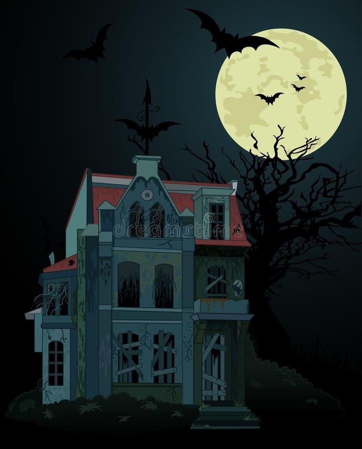 Fond hanté fantasmagorique de maison illustration stock