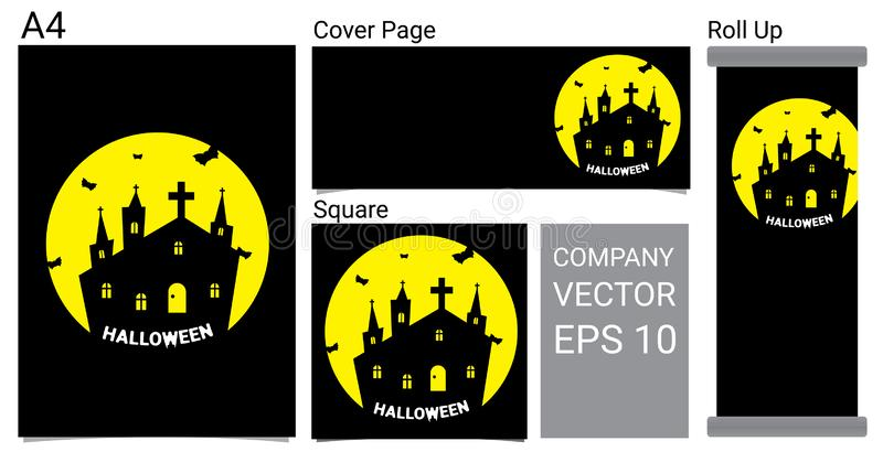 Fond heureux de bannière de Halloween avec la Chambre hantée, le Ghost, et l'illustration réglée de vecteur de bande dessinée de  illustration stock