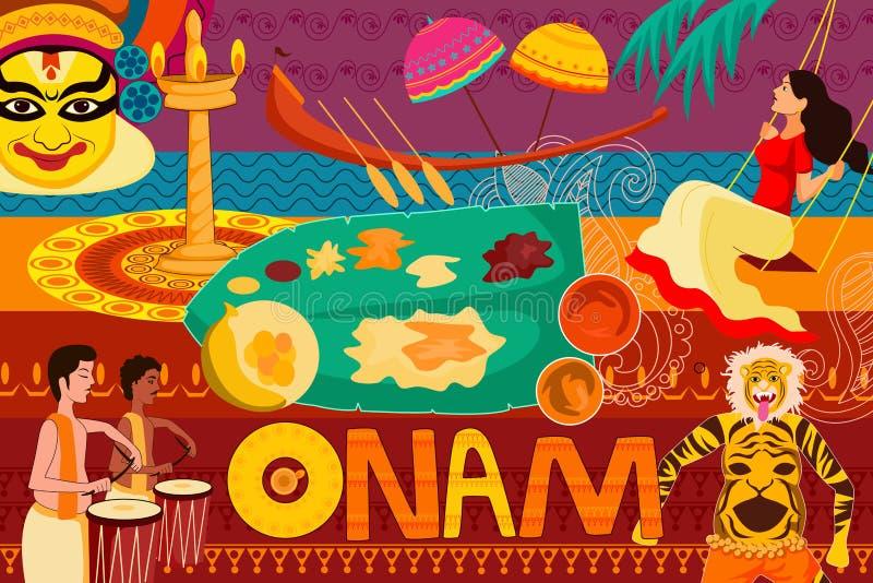 Fond heureux de célébration de festival d'Onam illustration de vecteur