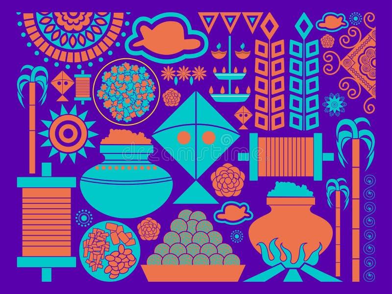 Fond heureux de célébration de festival de Makar Sankranti illustration de vecteur