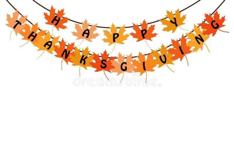 Fond heureux de carte des textes de thanksgiving avec des feuilles d'érable illustration libre de droits