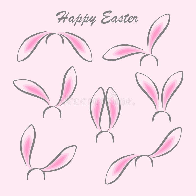 Fond heureux de carte postale d'abrégé sur Pâques Masques d'oreilles de lapin sur le fond blanc illustration stock
