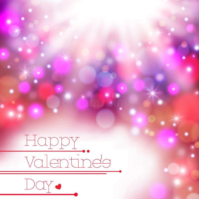 Fond heureux de carte de Valentine Day de tache floue colorée, illustration stock